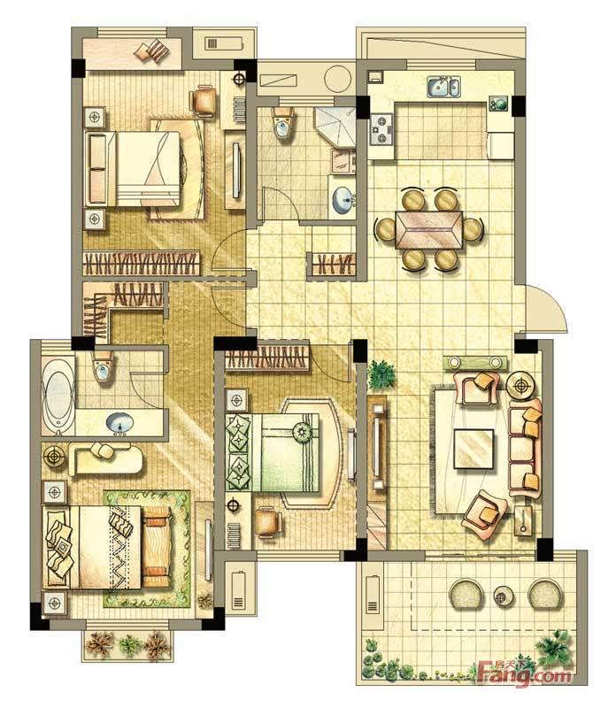 保亿风景沁园128.00㎡多层d(a)-3户型3室3厅2卫1厨