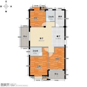 江南名苑119.26㎡D3户型3室2厅2卫