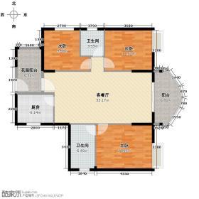 武汉国博新城翘楚居128.67㎡C3户型3室1厅2卫1厨