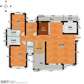 港隆国际120.60㎡E户型4室2厅3卫