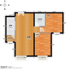 北京华贸城85.30㎡25号楼1-02户型2室2厅1卫