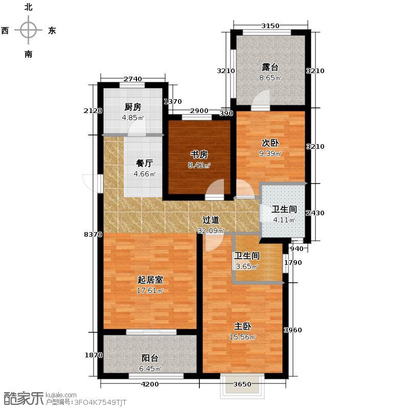 富立秦皇半岛124.98㎡高层户型3室2厅2卫