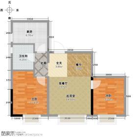 沈阳华润置地广场89.71㎡LM楼A户型2室2厅1卫