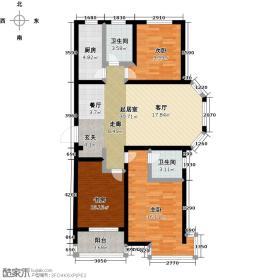 良城国际118.98㎡2号楼F户型3室2厅2卫
