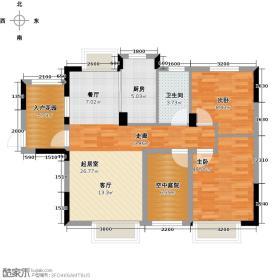 中国铁建山语城90.00㎡B1b户型2室2厅1卫