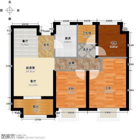 广宇锦绣桃源70.92㎡B2户型3室2厅1卫