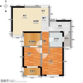 锦艺城83.44㎡B1户型2室1厅1卫