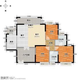 世博天林湖126.00㎡户型3室1厅2卫1厨