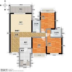 岭南天地尚苑125.80㎡T4/T504户型3室1厅2卫1厨