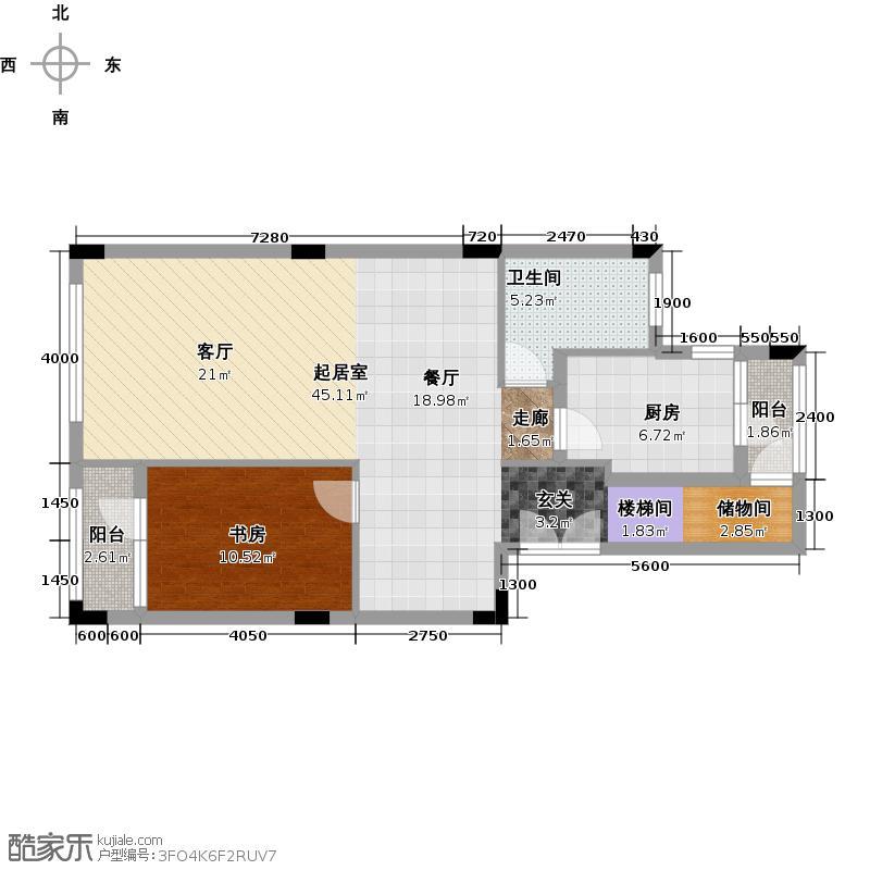 00㎡a区情景洋房复式单位三层平面图户型1室图片