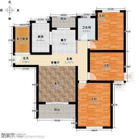 绿地世纪城12号楼观澜雅居户型3室1厅1卫1厨