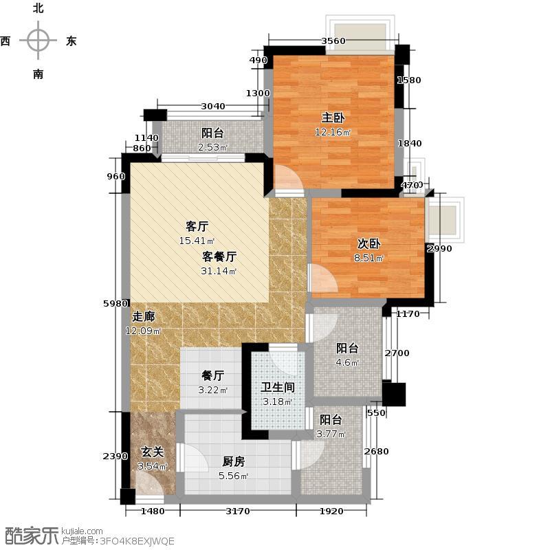 融汇半岛玫瑰公馆户型2室1厅1卫1厨