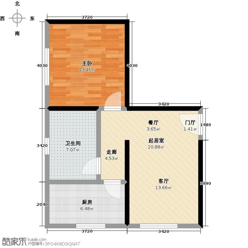 南天门休闲旅游度假区54.44㎡15号楼a户型1室1卫1厨