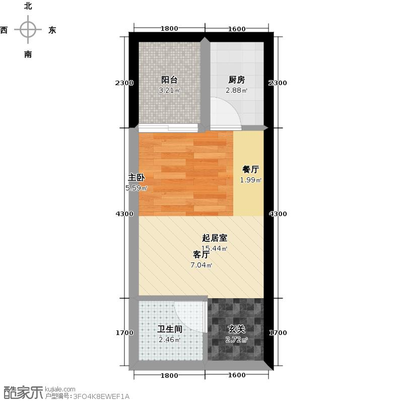 户型设计 熙街熙都会32-2栋b单间配套户型1卫1厨  建筑面积:33平方米