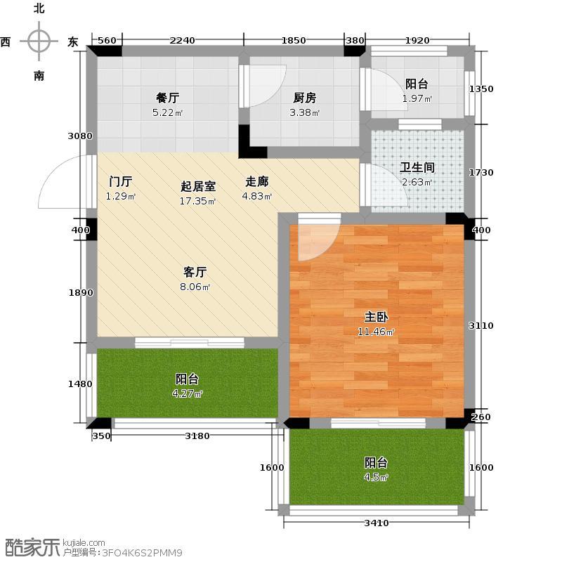 南天门休闲旅游度假区53.33㎡1,2,3号楼c户型1室1卫1厨
