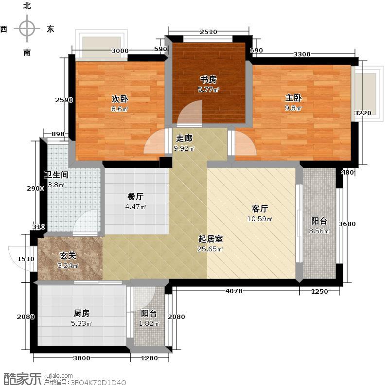 远洋高尔夫国际社区83.00㎡j3-c2户型3室1卫1厨