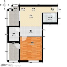 恩施国际商贸城67.91㎡5-8#楼E户型1室1卫1厨