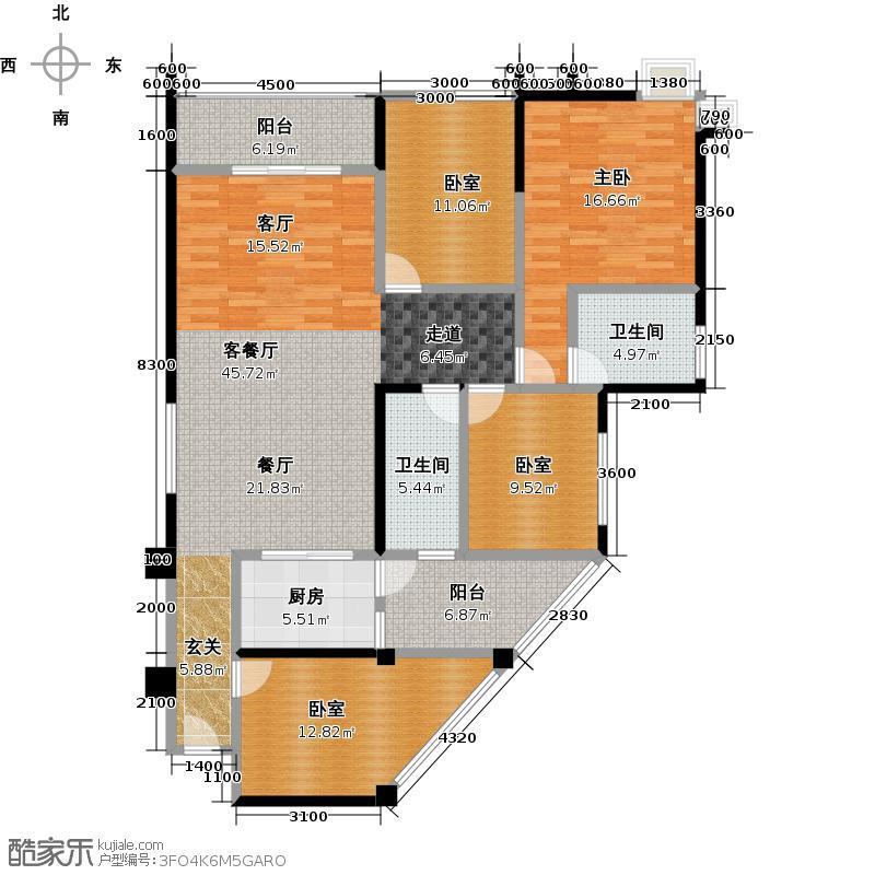 洛森堡新殿蝶郡118.00㎡25-6户型1室1厅2卫1厨