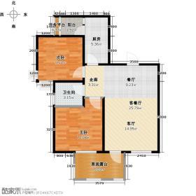 海悦豪庭72.19㎡C2奇数层户型2室1厅1卫1厨