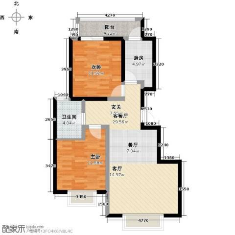 阳光清城76.00㎡两室两厅一卫户型2室2厅1卫-副本