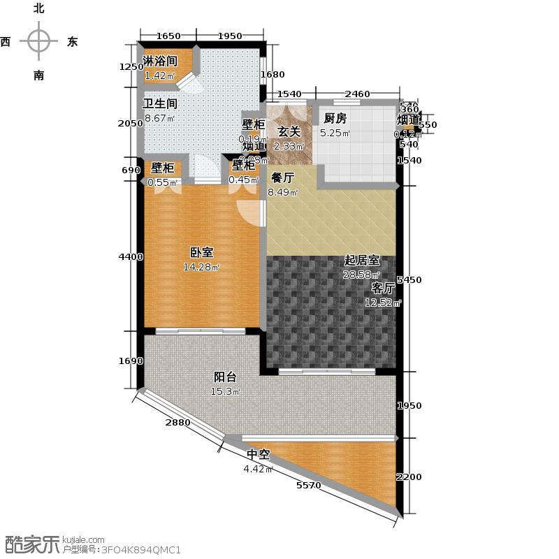 中信泰富神州半岛星悦海岸2-5号楼c平面图户型1卫