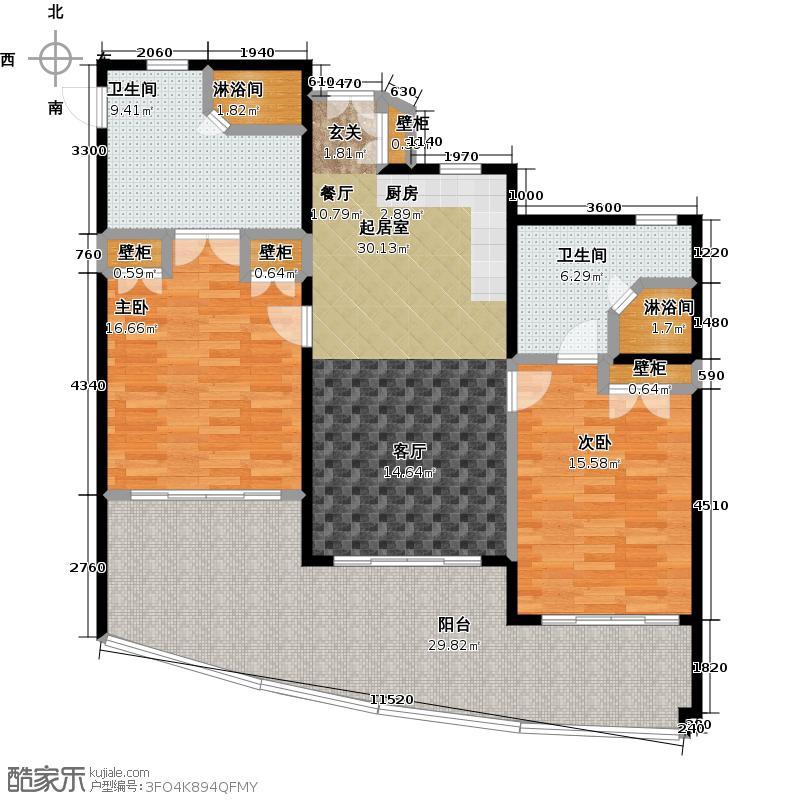 中信泰富神州半岛星悦海岸2-5号楼b平面图户型2室2卫