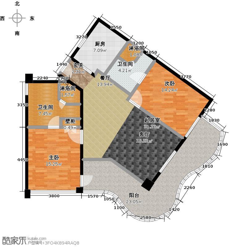 中信泰富神州半岛星悦海岸1号楼a平面图户型2室2卫1