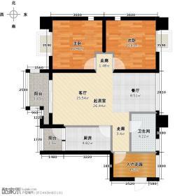 木鱼石水木年华3期1、3、6号楼标准层B2户型2室1卫1厨