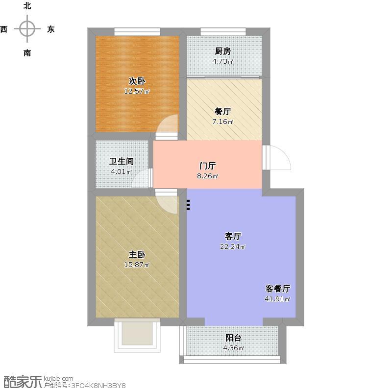 38㎡两室两厅一卫户型