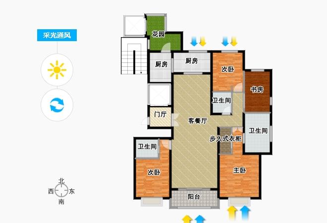 绿地内森庄园205.05㎡户型4室2厅3卫