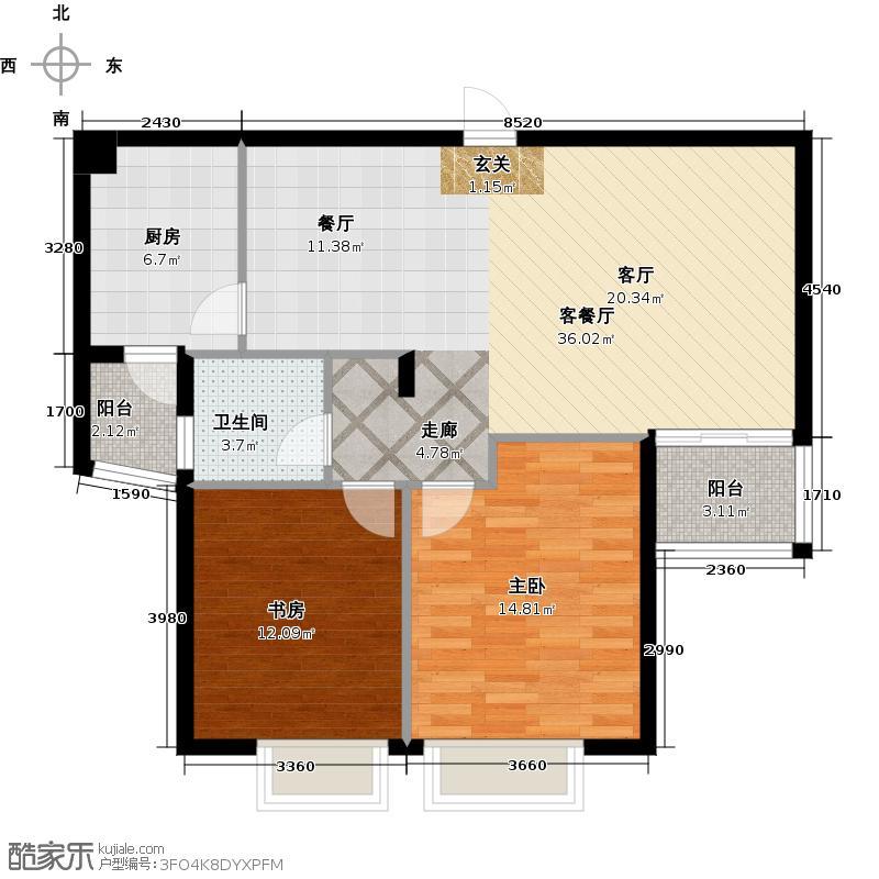 焦作建业森林半岛89.00㎡两室两厅一卫户型2室2厅1卫