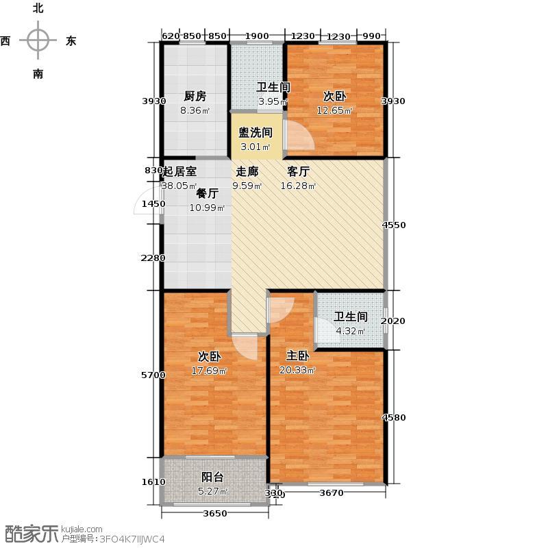 水木清华园户型3室2卫1厨