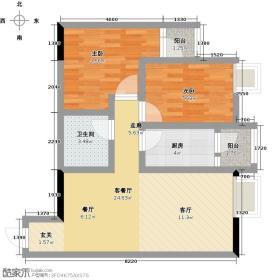 琪达新巢74.61㎡A3户型2室2厅1卫