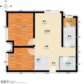 红星国际广场85.00㎡4#D户型 2室2厅1卫 85平米户型2室2厅1卫