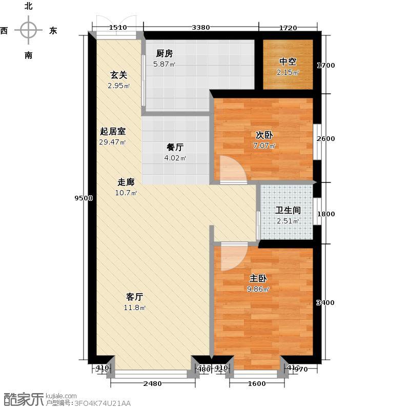 户型设计 文泽苑80平方米二室二厅一卫户型  新疆 乌鲁木齐 文泽苑