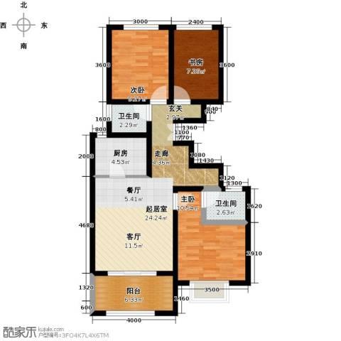 学府佳苑3室2厅2卫 115~123平米户型3室2厅2卫-副本