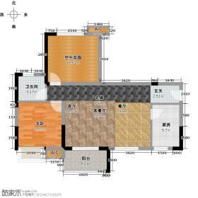 锦地繁花78.93㎡A2新户型1室1卫1厨户型1室1厅1卫X