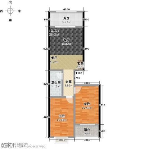 红日景园2室2厅1卫 91.6平米户型2室2厅1卫-副本