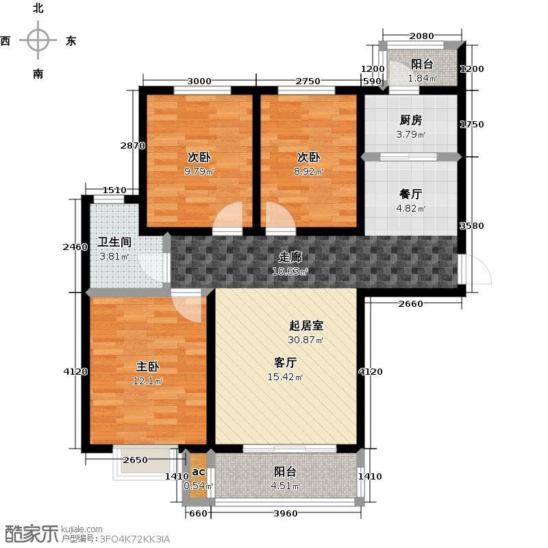 荣兴天顺124.96�Od户型三室两厅一卫户型3室2厅1卫