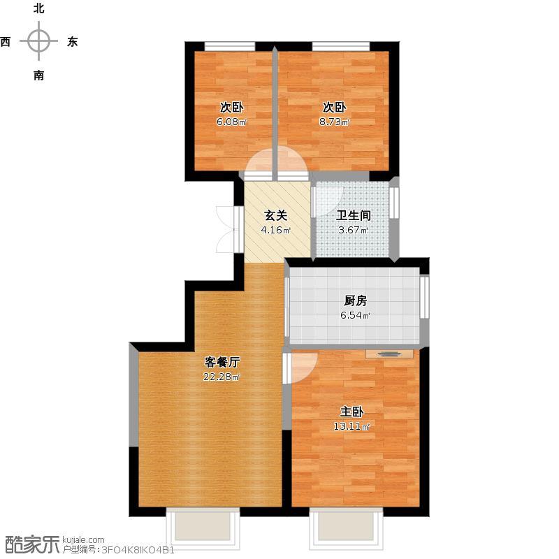 复制的方案_远洋风景90.00㎡f户型3室1厅1卫1厨净60.