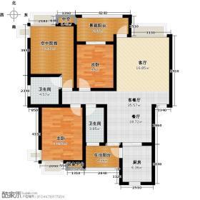 金鸿城107.81㎡E三室两厅两卫户型3室2厅2卫