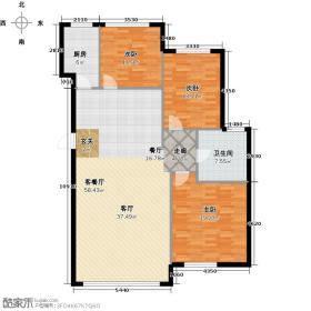 华都文郡126.00㎡三室两厅一卫户型3室2厅1卫