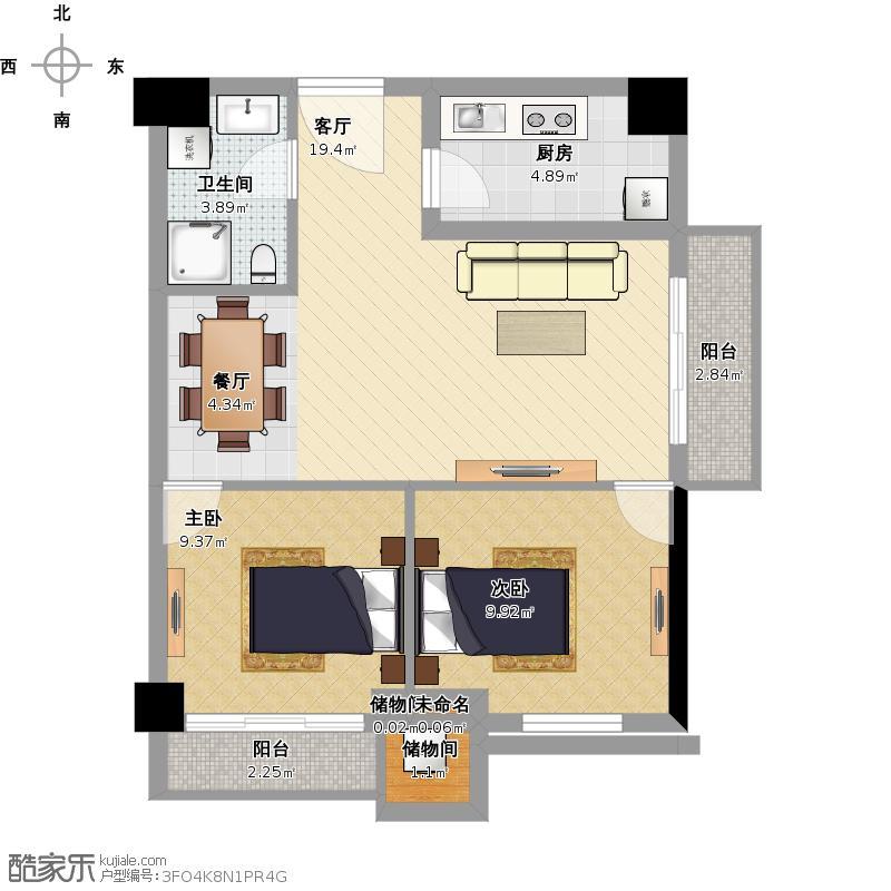 户型设计 我的户型图  四川 成都 益州国际广场 套内面积:58.