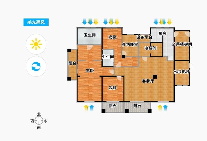 户型设计 良渚文化村柳映坊215.00㎡平层户型3室1厅2卫1厨图片
