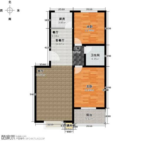 恋日晴园2室2厅1为 87.9m²户型2室2厅1卫-副本