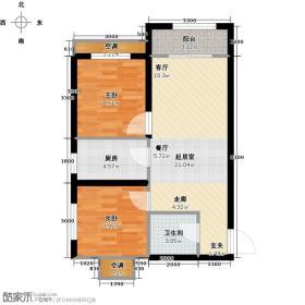 莱茵小城67.91㎡B户型 两室两厅一卫户型2室2厅1卫