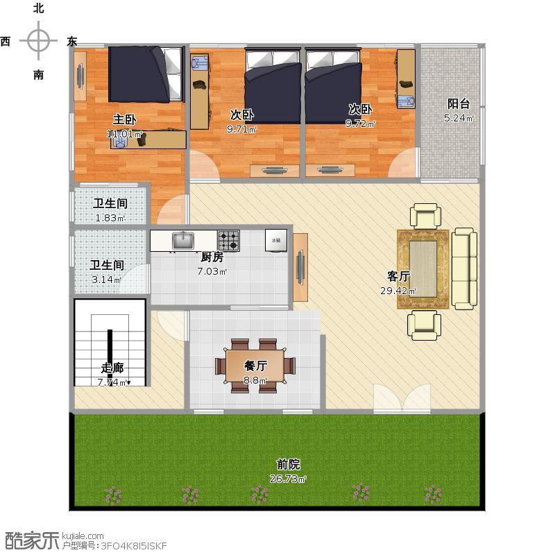 户型设计 18米长空地建设  广东 揭阳 未知小区 套内面积:120.