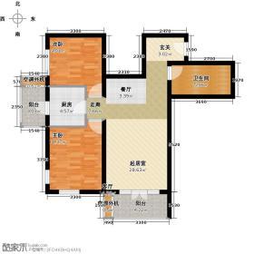 亦庄北岸B户型一室两厅一卫户型