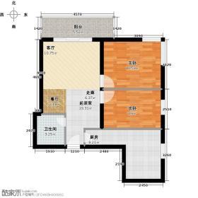 五孔桥小区72.19㎡6号楼E两室一厅一卫户型