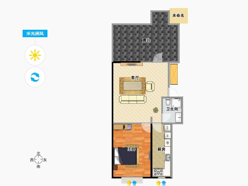 户型设计 公园悦府一居室户型图